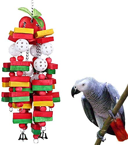 Gshy Juguete masticable de Madera para pájaros Bloques de Madera Colgantes Cadena de Juguete para periquitos, Loros, cacatúas (Manzana)