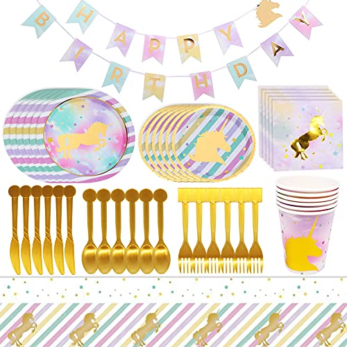 BETOY 48 Piezas Vajilla Desechable Cumpleaños Unicornio de Platos Desechables Biodegradables Pancarta,Platos, Vasos, Vajilla, Servilletas y Mantel Decoraciones de Fiesta para Niños