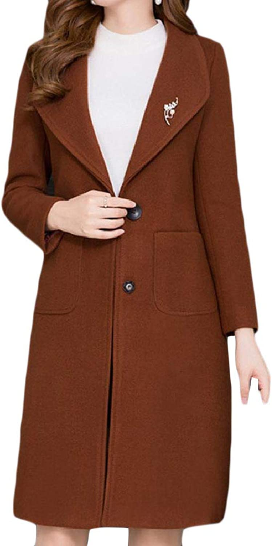 ROHEP Women PlusSize Trench WoolBlend TurnDown Collar Pea Coat Jacket