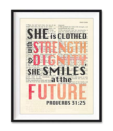 She is Clothed with Strength and Dignity, Proverbs 31:25, Christian Unframed Reproduction Art Print, Vintage Bible Verse Scripture Wall and Home Decor Poster, Inspirational Gift, 5x7 Inches
