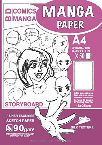 MANGA PAPER STORYBOARD: Manga Bande Dessinée Papier | Grille avec Repères | planches de BD vierges | A4 - Surface de Dessin (16x25cm) - 50 Feuilles | ... Couverture VIOLETTE - Pratiquer le dessin