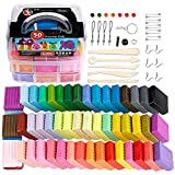 Polymer Clay Starter Kit- 50 Colors, CiaraQ (1oz/Block ) Oven Bake Modeling Clay Set, CPSC Conformed Non-Toxic DIY Modeling Clay Assorted with Sculpting Tools. Great for Kids, Beginners, Artists.