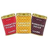 LA PASTORA | Producto Gourmet | Pack/ 3 Latas de Pimentón | Dulce + Picante + Ahumado | 75 gr./ud. | 100% Natural | Pimentón en Polvo | Antioxidante | Apto Para Celíacos | Pimentón Español