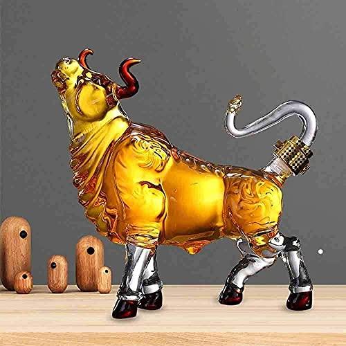 Decantador De Whisky Set para Hombres Decantador De Whisky Vino Licor Bull Style 1000Ml Regalo De Cumpleaños Personalidad Animal Garrafa Alto Borosilicato Cristal Sin Plomo CC Vaso De Whisky R