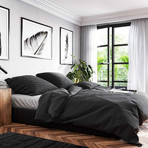 Wolkenfeld Bettwäsche 155x220 Baumwolle Grau - Atmungsaktiv - 1x Bettbezug 155x220 + 1x Kissenbezug 80x80 - Anthrazit