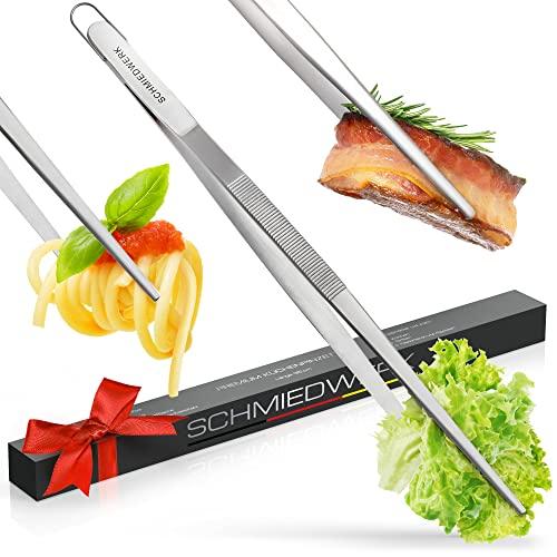SCHMIEDWERK Grillzange Edelstahl 45cm - Grillen | Kochen | Backen - Kochpinzette lang mit Hängeöse als Küchenhelfer