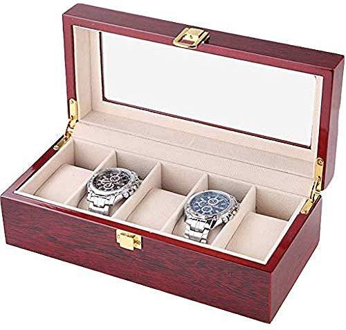 Hoge kwaliteit Watch Box Men S Valet Commode Men S Valet Tray Case Glass Cover Stevige Houten Watch Box Organizer, horloge doos, de kast met verwisselbare horloge Kussen, Velvet Lining, metalen gesp,