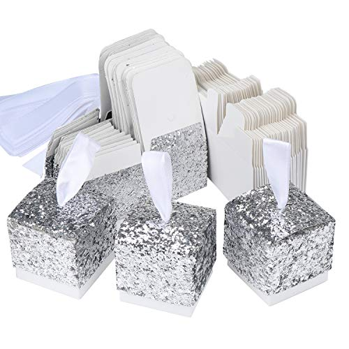 TsunNee Süßigkeitenschachteln aus Papier, glitzernd, für Hochzeit, Gastgeschenk, Party, Geschenkbox, kreative Papierboxen silber