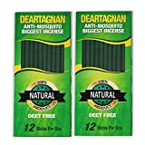 DEARTAGNAN Mosquito Incense Sticks (2) Pack | Plant Based DEET Free Insect Repellent Incense Sticks | Bamboo Infused w/Citronella, Lemongrass & Rosemary | 12 Biggest Sticks per Box (2- Pack)