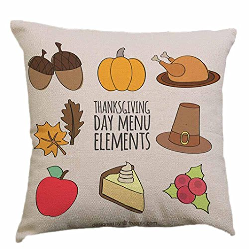 bescita Happy Thanksgiving Day Cafe Canapé Housse de coussin Home Decor Coussin Déco Cases G