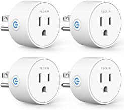 Smart Plug Compatible with Alexa Google Assistant for Voice Control, Teckin Mini Smart Outlet Wifi Socket with Timer Function, No Hub Required, White FCC ETL Certified