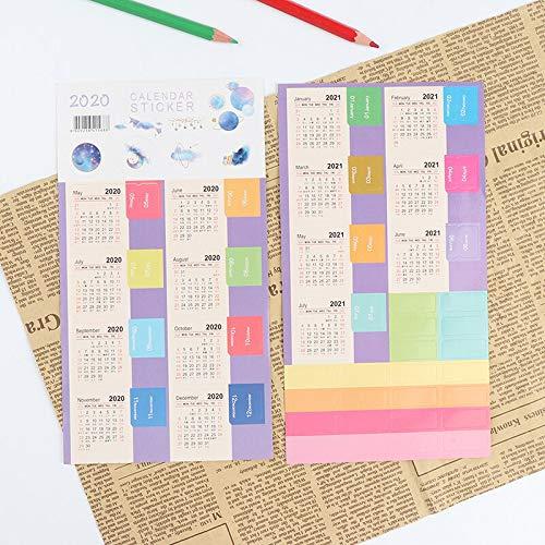 BLOUR 2021 Jahr Kalender Aufkleber Index Lesezeichen Planer Journal Label Acc Tagebuch Handbuch Klassifikation Label Aufkleber Neujahrsgeschenk
