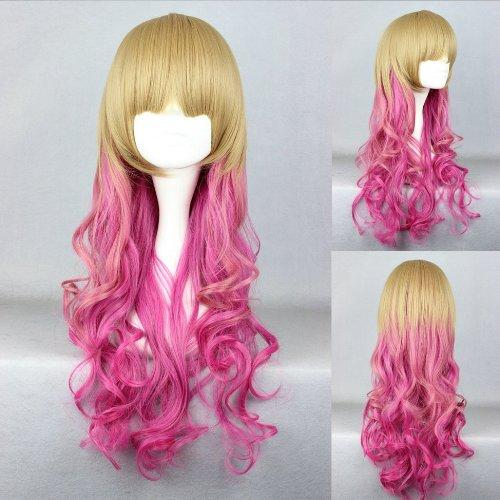 Ladieshair Cosplay Perücke blond pink 65cm lockig Dipdyed Hair