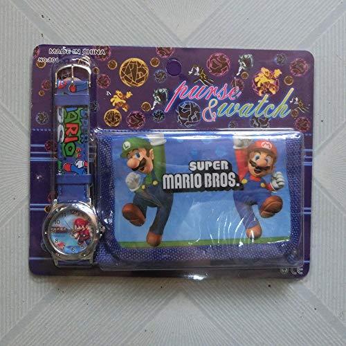 JINGJIANG Super Mario Bag Super Mario Super Mario Boy Watch + bolsa de dibujos animados Anime Estudiante Juego de reloj infantil