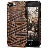Tasikar Funda iPhone 8 Plus/Funda iPhone 7 Plus Funda Híbrida de Madera y TPU Compatible con iPhone 7 Plus / 8 Plus (Cuero & Madera)