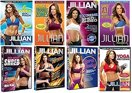 Jillian Michaels Fitness 8-Pack Collection: 6 Week Six Pack/One Week Shred/Yoga Inferno/Yoga Meltdown/Banish Fat Boost Metabolism/No More Trouble Zones/Extreme Shed & Shred/Hard Body