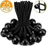 ZOAN 25Pcs Ball Bungee Cords, Reusable Heavy-Duty Ball Bungees 6inch, Variety for Canopy, Camping, Screen, Soccer Goals, Tie Down Tarps, Tent, Wires, Motorhome.