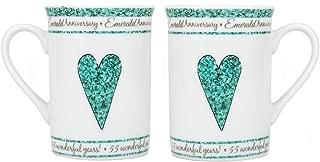 Beautifully Designed 55th Emerald Wedding Set of Ceramic Mugs Dishwasher and Microwave Safe with Decorative Keepsake Box by Happy Homewares