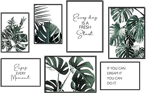 ANHUIB Set di 7 Moderno Poster per Soggiorno,Acquerello Verde Piante Posters,Citazioni Ispiratrici Arte Parete,Stampe da Parete Foglia di Verde per Camera da Letto Decorazioni,3xA3+4xA4,Senza Cornice