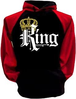 Couple Matching King Queen Crown Two Tone Raglan Hoodie Pullover Hooded Sweatshirt