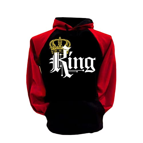 SR S&R Couple Matching King Queen Crown Two Tone Raglan Hoodie Pullover Hooded Sweatshirt