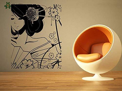 Vinyl Muursticker Kostuum Mooie Geisha Meisje en Bloem Cartoon Thuis Woonkamer Decor Sticker 57 * 72cm