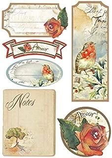 Luna de papel - italiano hecho estarcido pegatinas para Decoupage, scrapbooking, fabricación de la tarjeta x 2 hojas - de flores y poemas