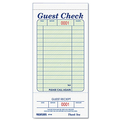 Rediform 5F740 Guest Check Book, 3 3/8 x 6 1/2, Tear-Off at Bottom, 50/Book