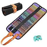E-More set di 36 matite colorate da disegno artistico con custodia in tela arrotolabile e temperamatite, per schizzi e disegni
