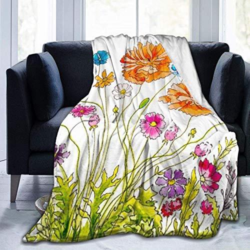 Manta personalizada, pintada a mano, acuarela e ilustración de tinta con amapolas y otras flores de campo, suave y cómoda manta de felpa para sofá, dormitorio, viaje, manta esponjosa de 102 x 122 cm