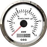 KUS GPS Velocímetro Indicador de velocidad 15Knots 28KM/H Para barcos Yates 85mm Con luz de fondo (Blanco)