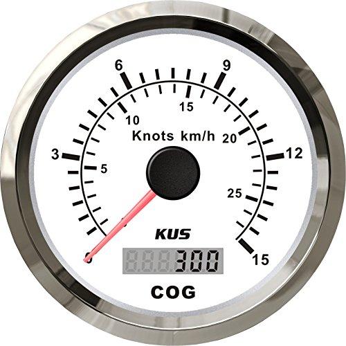 KUS GPS Tachometer Geschwindigkeitsmesser 15Knots 28KM/H Für Boot Yachten 85mm Mit Hintergrundbeleuchtung (Weiß)