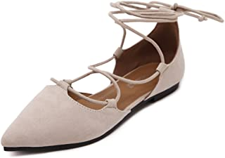 Womens D'Orsay Pointy Toe Ankle Strap Wrap Ballet Flats Lace Up Flat Shoes