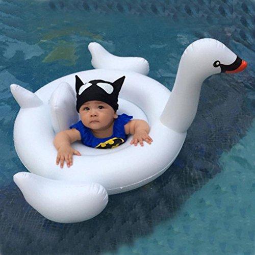 iusun bebé cisne blanco hinchable flotador Anillo de natación asiento barco piscina agua juguete, Blanco