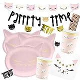 partydeco/Hobbyfun 41-teiliges Party-Set Katze - Kätzchen - Teller Becher Servietten Trinkhalme Girlanden Deko-Konfetti für 6 Kinder