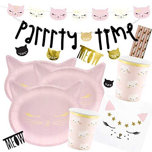 spielum 41 Piece Party Set Cat Kitten Plates Cups Napkins Straws Garlands Decorative Confetti for 6 Children