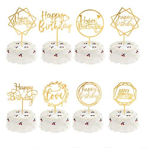 Meowoo Cake Topper Happy Birthday, 8PCS Cupcake Toppers Tarta Topper de Pastel de Cumpleaños Decoración Adecuado para Niños Hombres Mujeres Fiestas familiares de Cumpleaños