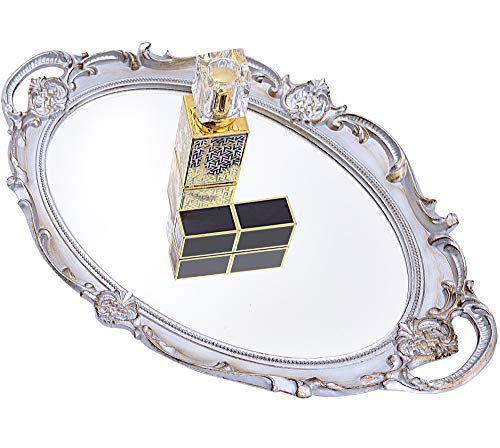 Mirrored Tray,Decorative Mirror for Perfume Organizer Jewelry Dresser Organizer Tray and Display,Vanity Tray,Serving Tray,9.8 inch x 14 inch(Golden Silver)