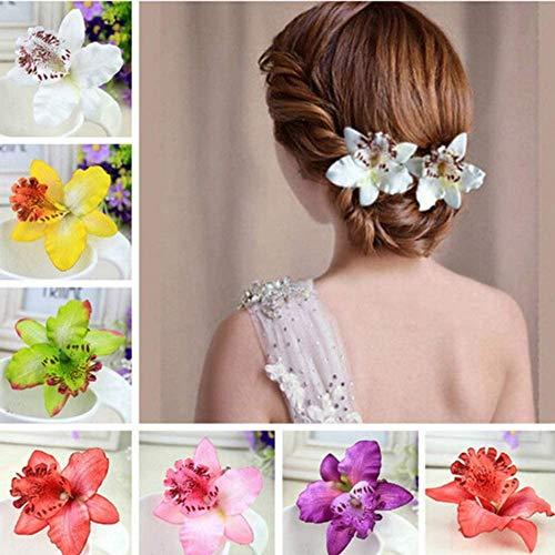 Longsing Clip di Capelli Fiore Fiori per Capelli Fermaglio per Capelli a Fiore a Doppia Orchidea per Lady Women Girls Bridal Wedding Party Hair Style Accessori 7 Pezzi