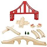 OrgMemory Eisenbahn Set, Hängebrücke, Holzeisenbahn Eisenbahnbrücke, Kreuzung, Stopp Track und Gebogene Gleise Kompatibel mit Anderer Marken