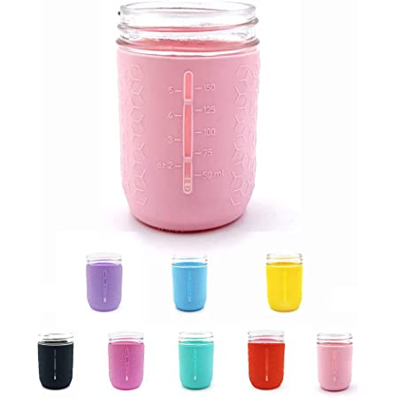 minliving Silicone Mason Jar Protector Sleeve 8oz (Half Pint) Fits Ball, Kerr Regular-Mouth Jars, Kids Cup Holder (Pink, 1) Jar not included previously known as HallGEMs