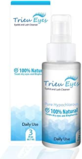 New Trieu Eyes Eyelid and Eyelash Cleaner pure Hypochlorous Acid for Blepharitis, dry eyes, mites and bacteria (3 oz) three months supply.
