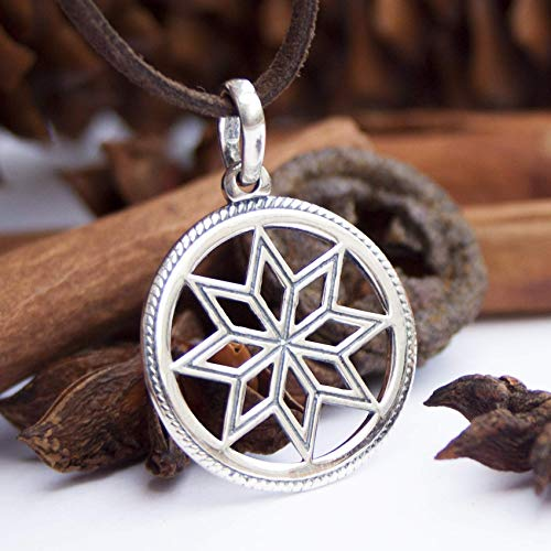 Pagan 8 Pointed Star Necklace Octagram 925 Sterling Silver Wiccan Sun Pendant Sacred Geometry Jewelry for Men Women Protection Good Energy Amulet Ancient Slavic Solar Symbol Alatyr/Handmade
