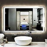 Espejo de Baño Espejo Maquillaje Espejo Baño Cuarto de baño LED iluminado espejos montado en la pared con luces y antivaho del cojín de baño Espejo de baño 750x1000, espumas de afeitar Maquillaje