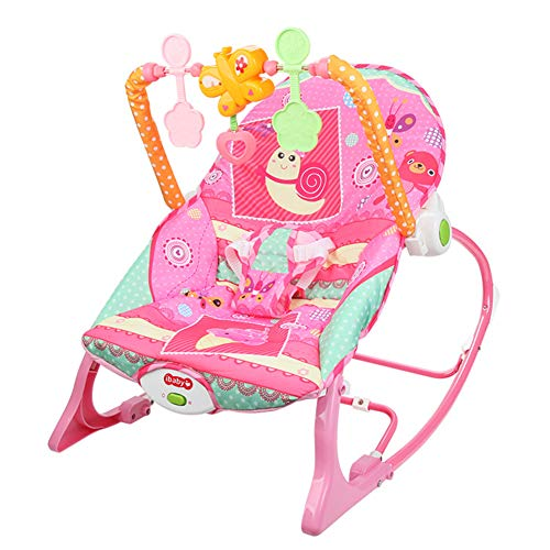 AQUYY Rocker Baby, Bouncer Chair with Music, Newborn Baby Bouncer with Removable Toy Bars ,with Songs and Sounds, Suitable from 0-6 Months(Color:Pink)