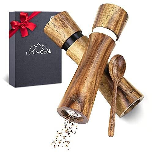Pfeffermühlen aus Holz – PREMIUM   Salz und Pfeffer-Mühle hochwertig (21 cm)   Gewürzmühlen Set für Salz und Pfeffer – mit Einfülllöffel   Elegantes Geschenk zur Hochzeit