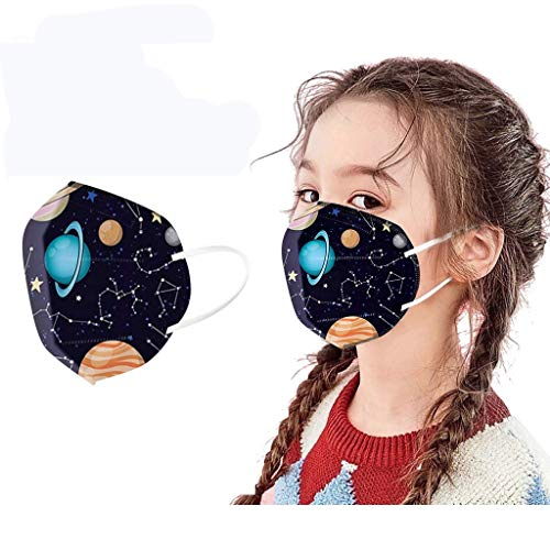 5-Layer Face_Masks Kids, N_95 Safety Face Coverings, Planets in Space Pattern Designs, Filter Efficiency ≥ 95% (10PC)