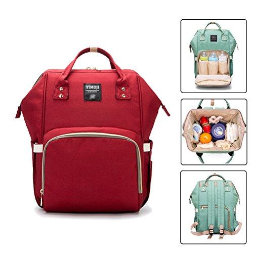 YIMOJI - Bolsa de pañales para bebé, multifunción, impermeable, con 3 bolsillos aislados para el cuidado del bebé, duradera, elegante y de gran capacidad rojo rosso