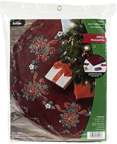 Bucilla Glitzy Poinsettia Felt Applique Tree Skirt Kit