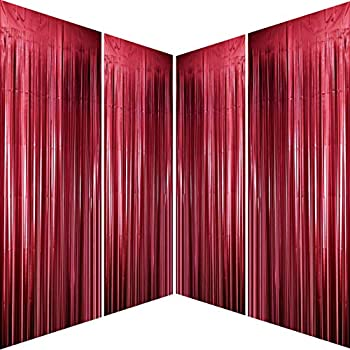 Burgundy Bachelorette Party Tinsel Foil Fringe Curtains for Wedding Anniversary Bridal Shower Happy Birthday Valentines Mothers Day Graduation Party Photo Booth Props Backdrops Decorations 4pc